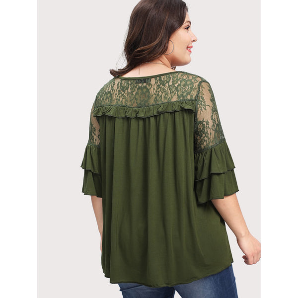 Floral Lace Yoke Solid Tee ARMY GREEN - Anabella's
