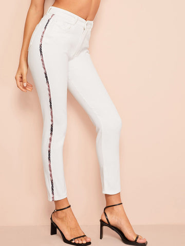 Contrast Star Print Tape Side Jeans