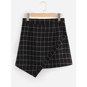 Grid Print Asymmetrical Hem Skirt