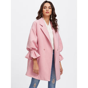 Drop Shoulder Pearl Detail Ruffle Cuff Coat Pink