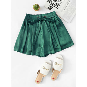 Satin Drawstring Waist Shorts Green