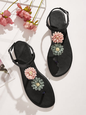 Floral Applique Toe Post Sandals
