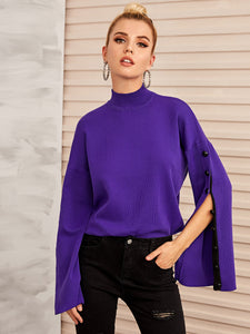 Button Detail Split Sleeve Sweater