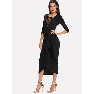 Crisscross Plunge Neck Draped Wrap Dress