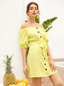Button Through Self Tie Bardot Dress