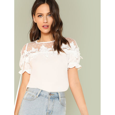 Lace Applique Mesh Shoulder Top
