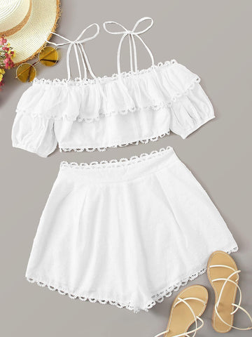 Tie Shoulder Lace Trim Foldover Top and Shorts Set