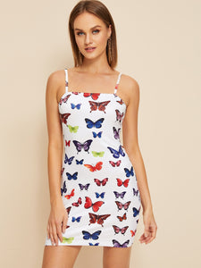 Butterfly Print Fitted Cami Dress