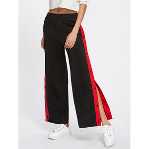 Contrast Snap Button Side Culotte Pants Casual