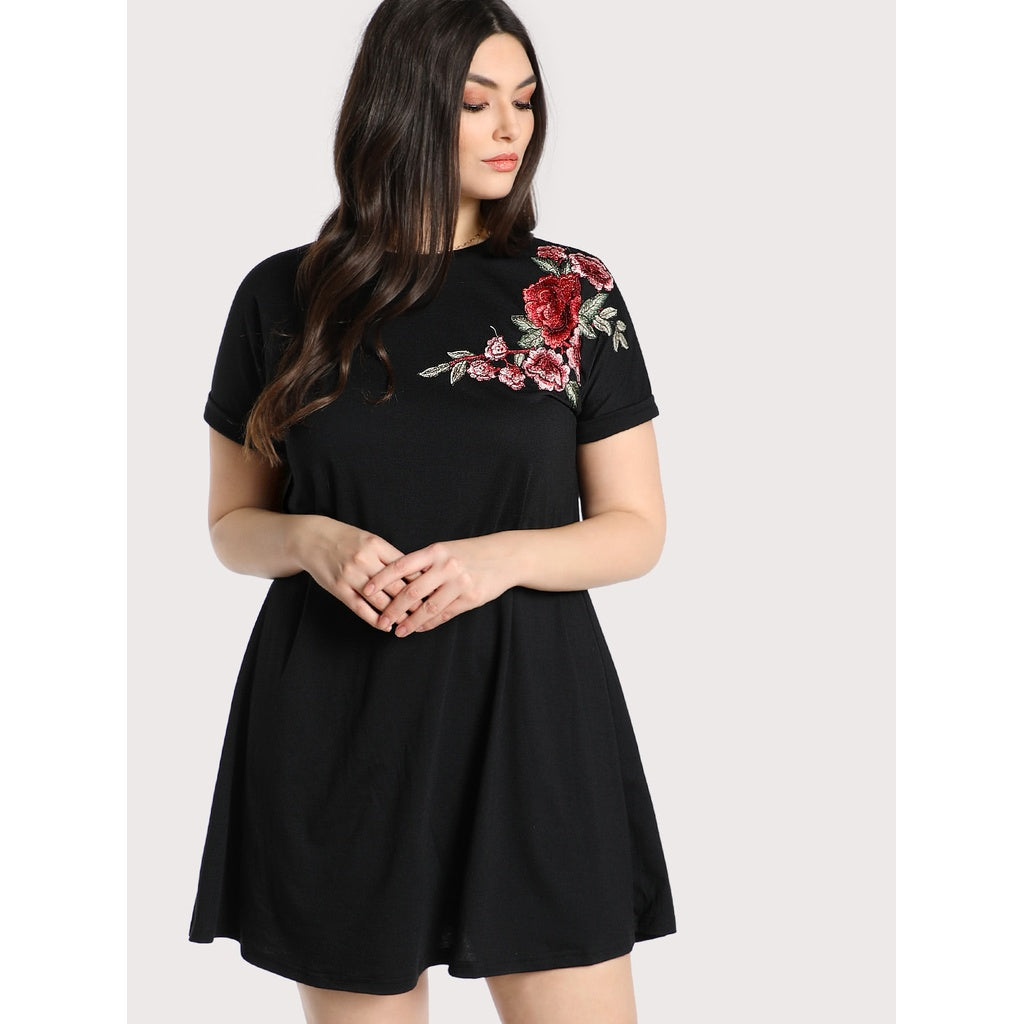 Embroidered Rose Patch Tee Dress BLACK - Anabella's