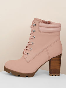 Padded Shaft Lace Up Chunky Sole Boots