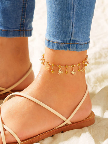 Flower Charm Chain Anklet 1pc