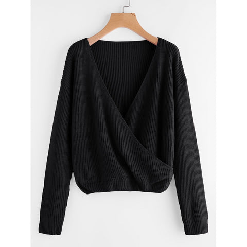 Drop Shoulder Surplice Front Sweater