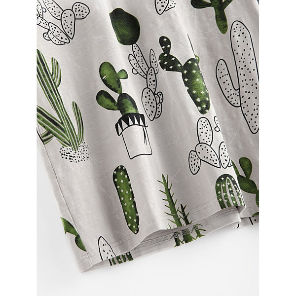 Cactus And Marble Print Ringer Tee MULTI