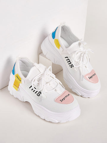 Letter Print Mesh Chunky Sole Trainers