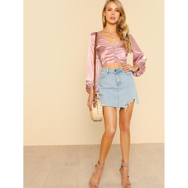 9aba75cb2dae33 ... Pink V Neck Solid Satin Crop Top