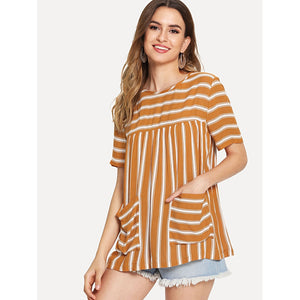 Dual Pocket Front Striped Tunic Top