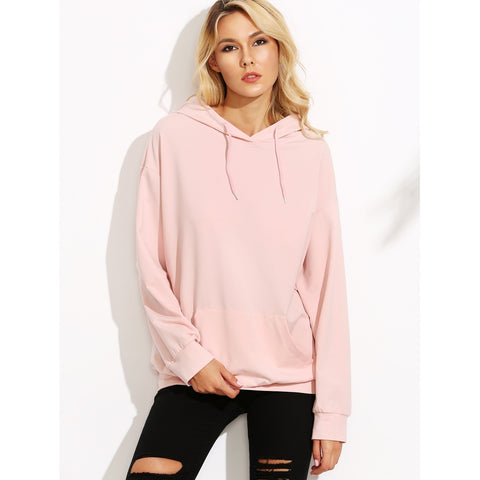 Drop Shoulder Hooded Sweatshirt With Kangaroo Pocket