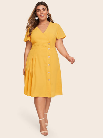 Plus Surplice V-neck Button Front Dress