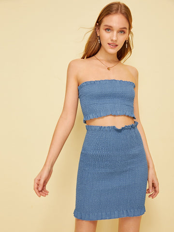 Solid Frill Shirred Tube Top & Skirt