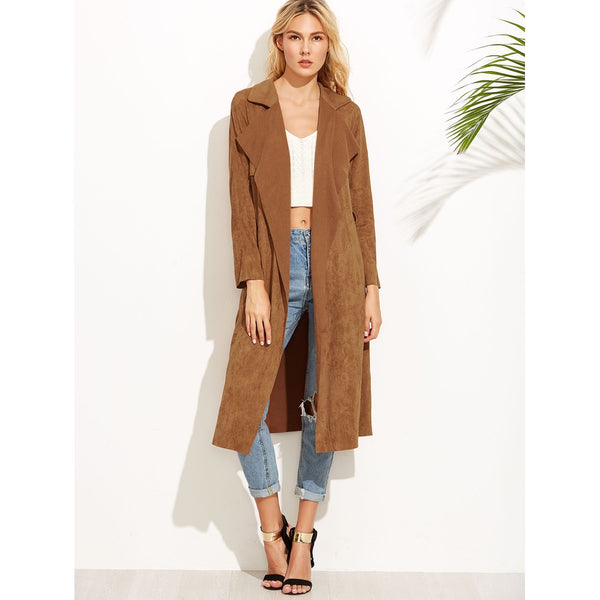 Brown Suede Self Tie Duster Coat