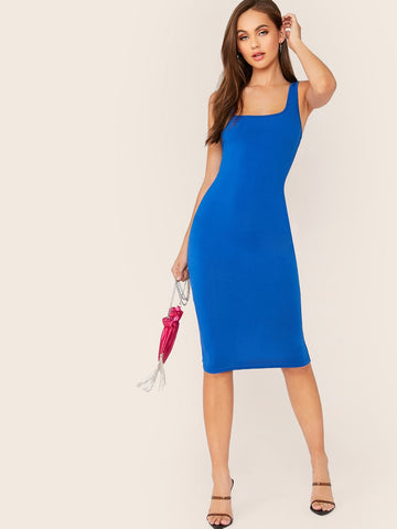 Solid Open Back Bodycon Pencil Tank Dress