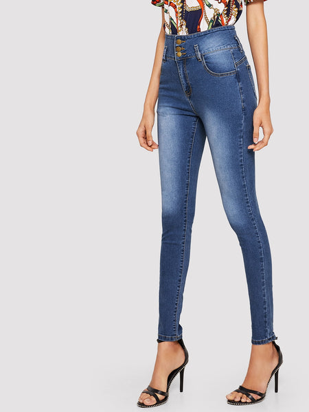 High Waist Dark Wash Skinny Jeans