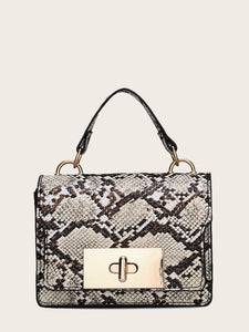 Twist Lock Snakeskin Satchel Bag