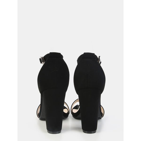 Single Sole Ankle Strap Chunky Heels BLACK - Anabella's