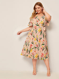 Plus Surplice Neck Wrap Knot Pleated Floral Dress