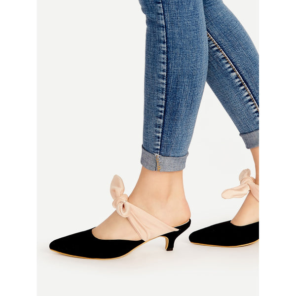 Black Point Toe Contrast Bow Tie Heeled Mules - Anabella's