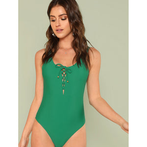Lace Up Front Tank Swimsuit GREEN