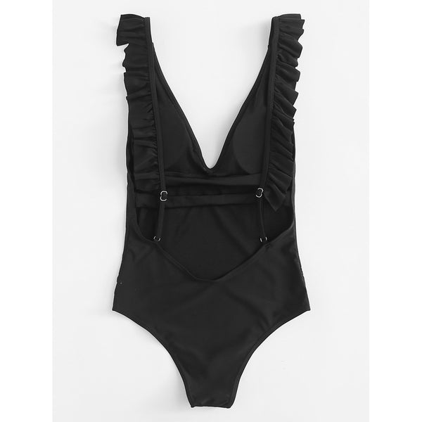 Backless Ruffle Swimsuit BLACK