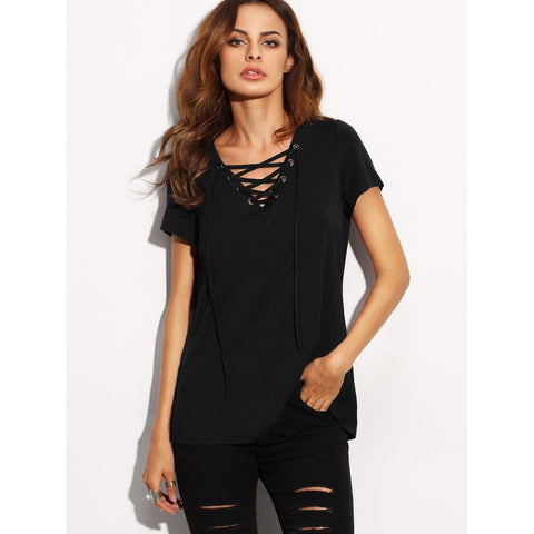 Lace Up V Neck T-shirt