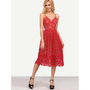 Hollow Out Fit & Flare Lace Cami Dress Red