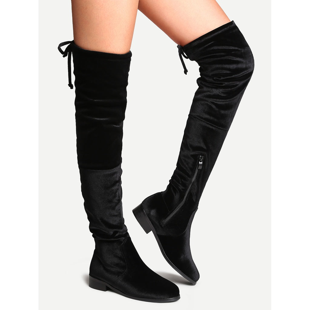 54227430884 ... Black Faux Suede Side Zipper Tie Back Over The Knee Boots - Anabella s  ...