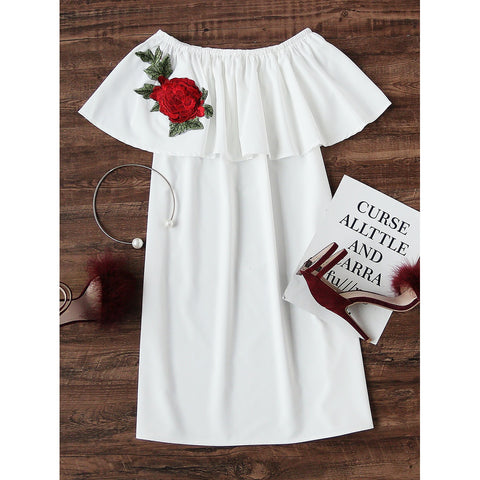 Boat Neckline Layered Rose Embroidered Patch Dress
