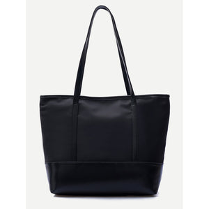PU Trim Nylon Tote Bag
