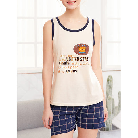 Bear Print Tank Top With Plaid Shorts