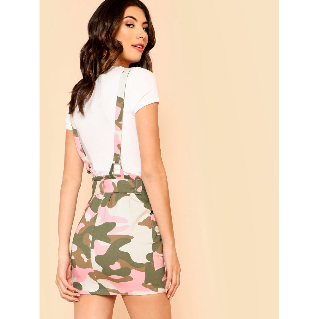 8ee0eece28edd Camo Print Suspender Skirt with Belt | Anabella's