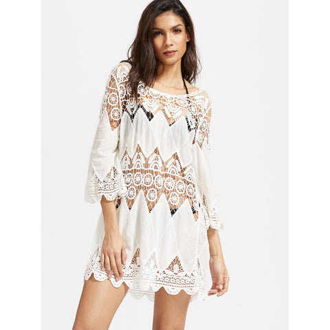 Bell Sleeves Hollow Crochet Scallop Hem Cover Up Dress