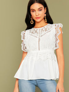 Lace Bodice Peplum Top