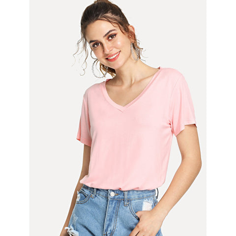 V-Cut Short Sleeve Casual T-shirt Pink