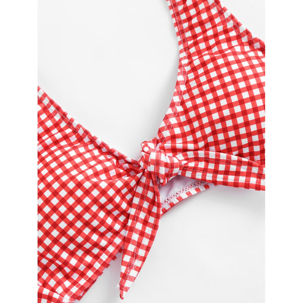 Knot Front Gingham Bikini Set RED