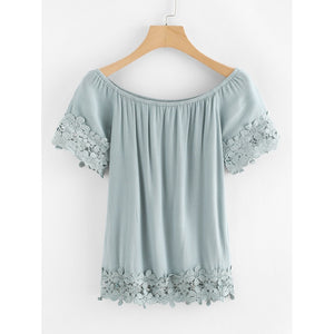 Contrast Lace Embroidery Top