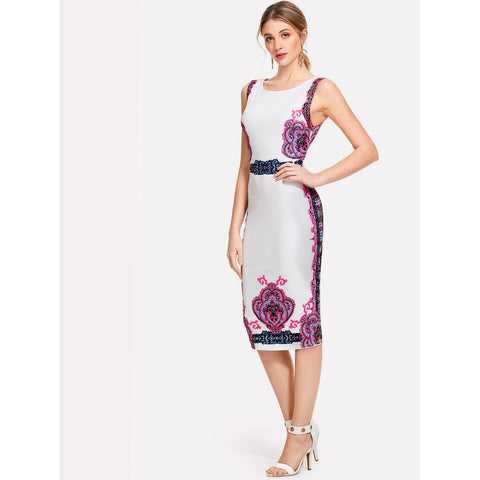 Ornate Print Form Fitting Dress Multicolor