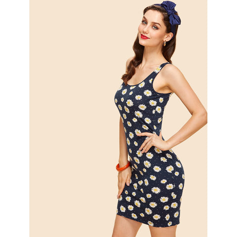 Split Back Daisy Print Tank Dress
