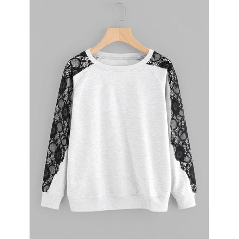 Contrast Floral Lace Marled Sweatshirt