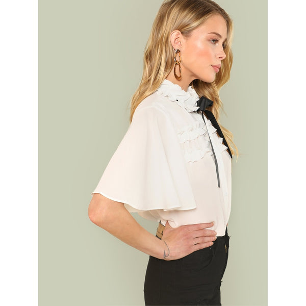 Tie Neck Ruffle Trim Shirt