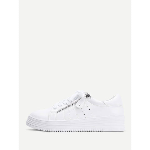 Laser Cutting Detail Contrast Lace Up Trainers White